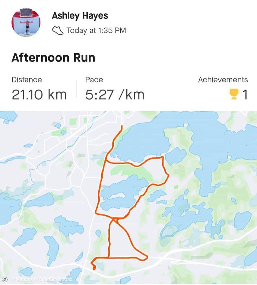 what the virtual running map looks like (Canada)